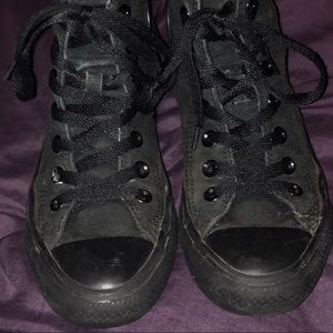 Black on black high top converse